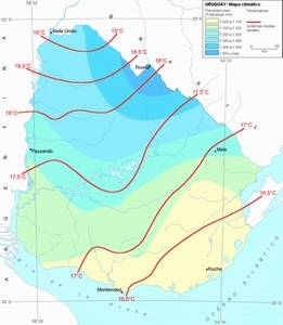 mapa clima uruguay