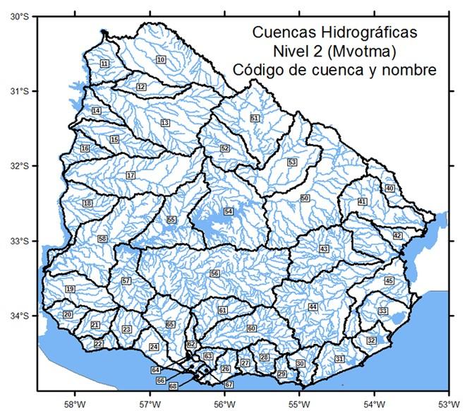 Mapa cuencas hidrográficas uruguay