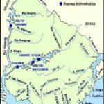 Mapa de ríos y represas hidroeléctricas de Uruguay con nombres