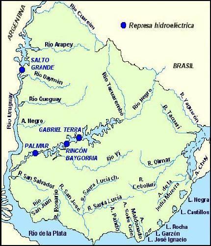 Mapa hidrográfico del Uruguay