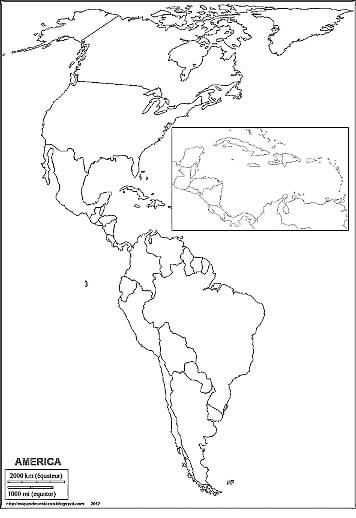 mapa político america mudo