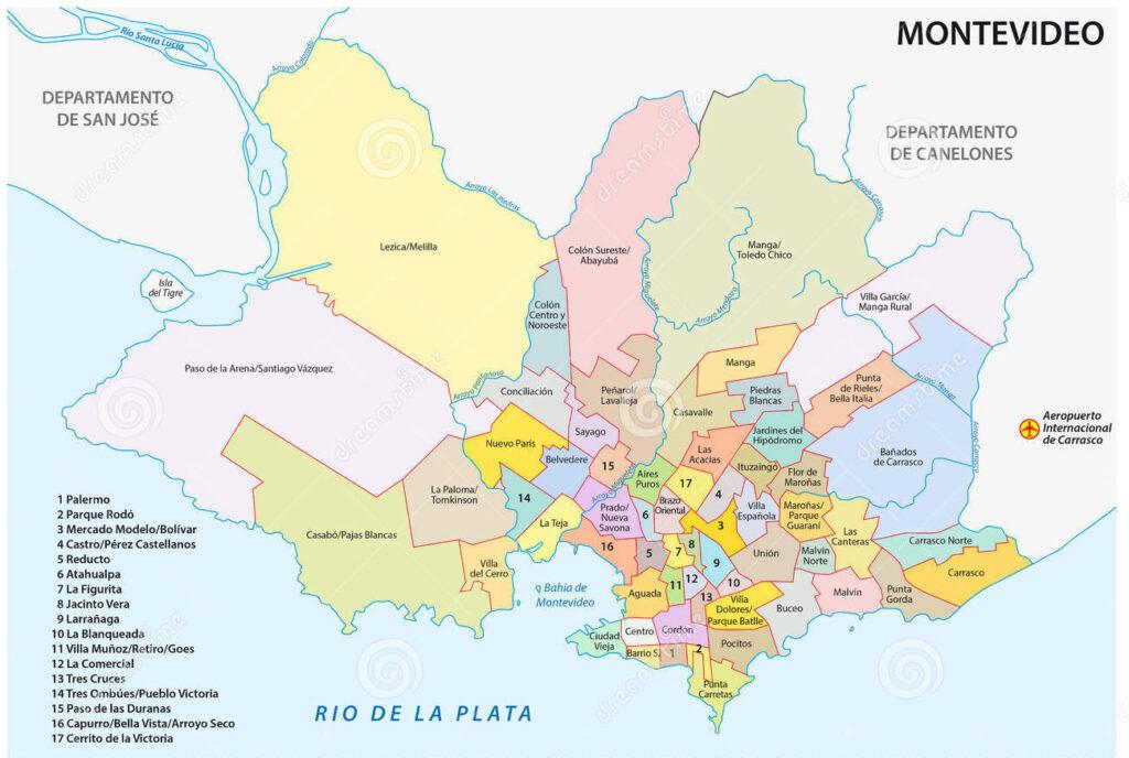 Mapa Montevideo barrios