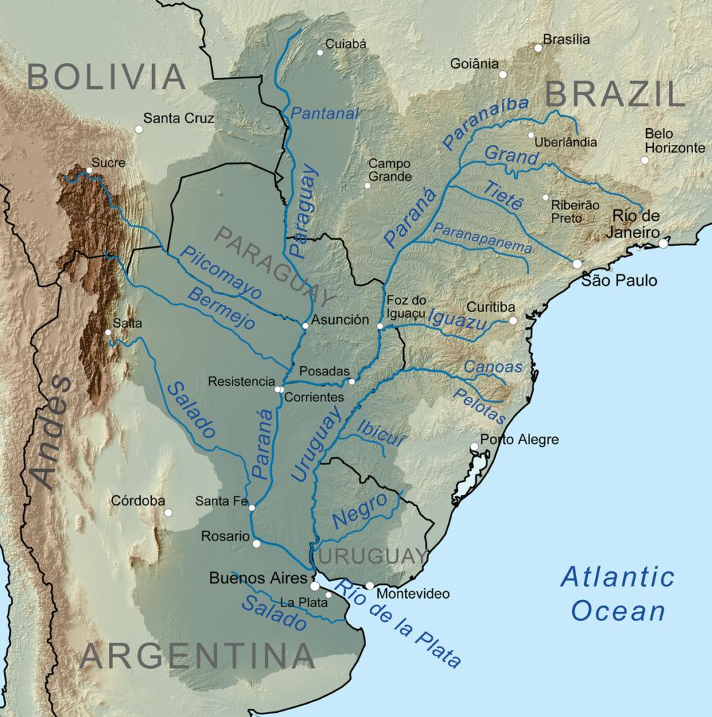 Mapa Cuenca del plata rios