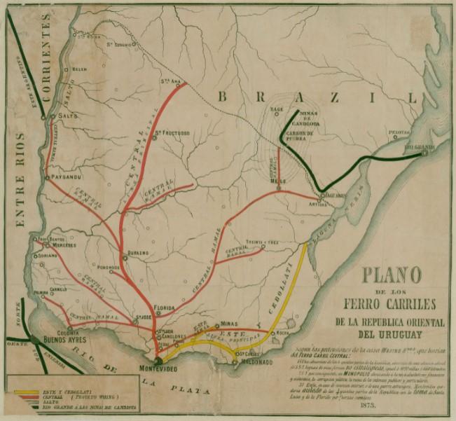 Mapa ferrocarriles Uruguay 1873