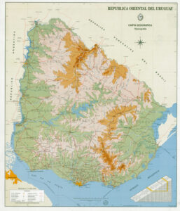 Mapa físico Uruguay gigante