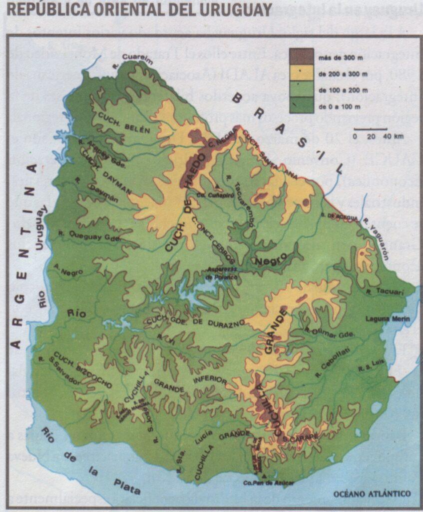 Mapa físico del Uruguay relieve