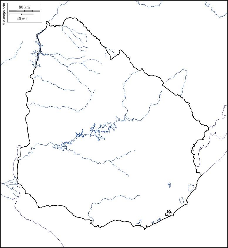 Mapa hidrográfico mudo de Uruguay