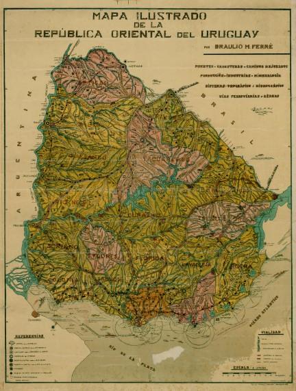 Mapa político Ilustrado Uruguay 1934
