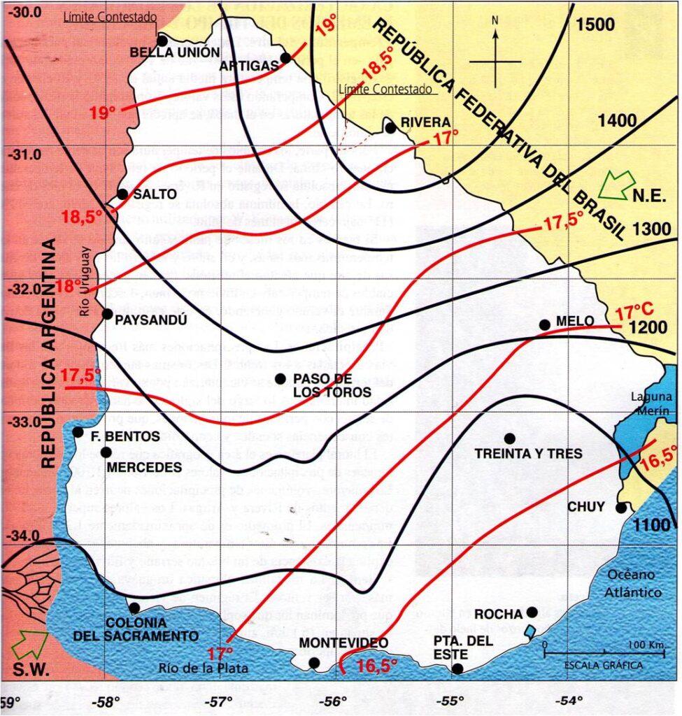 Mapa clima isohietas e isotermas Uruguay