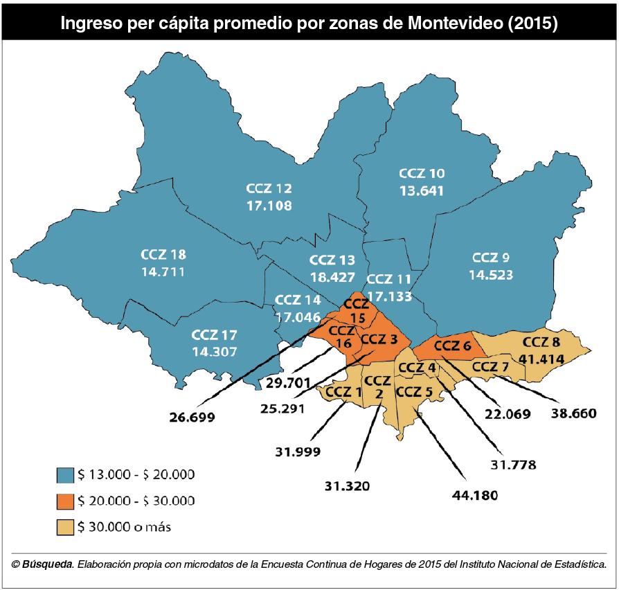 Mapa montevideo ingresos por persona
