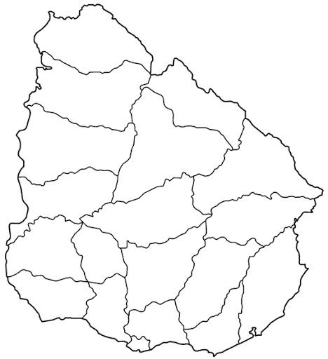 Mapa Uruguay sin nombres mudo