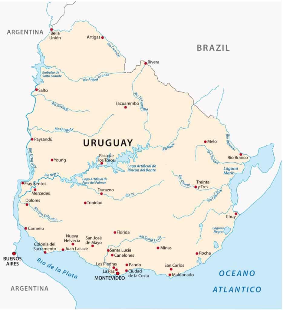 Mapa ríos Uruguay