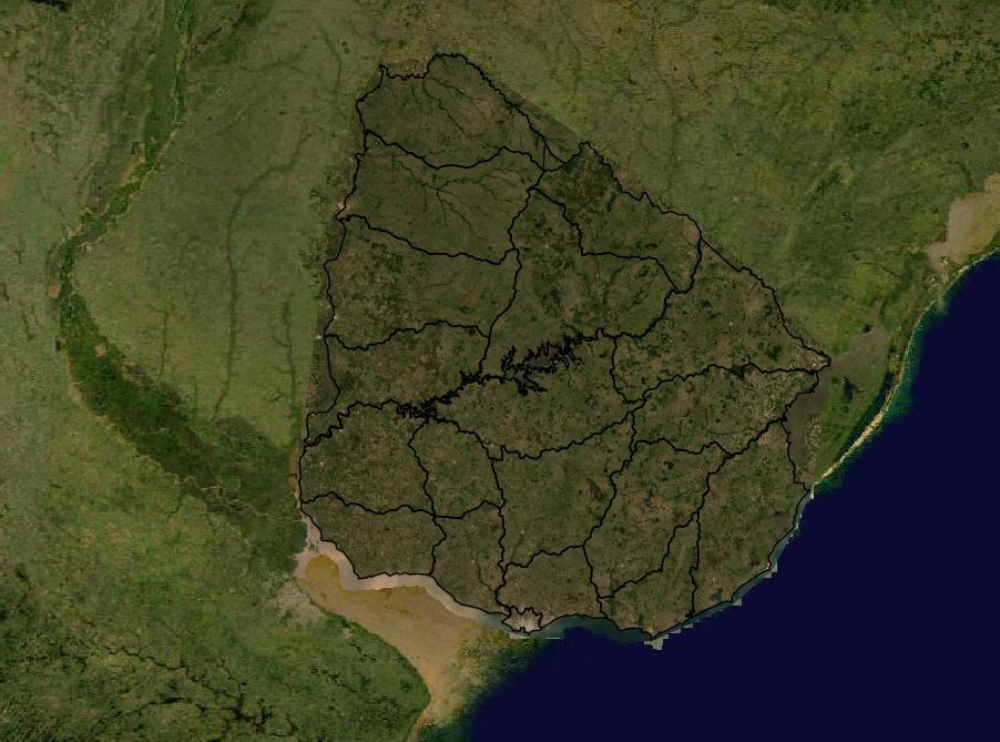 Mapa satelital político Uruguay
