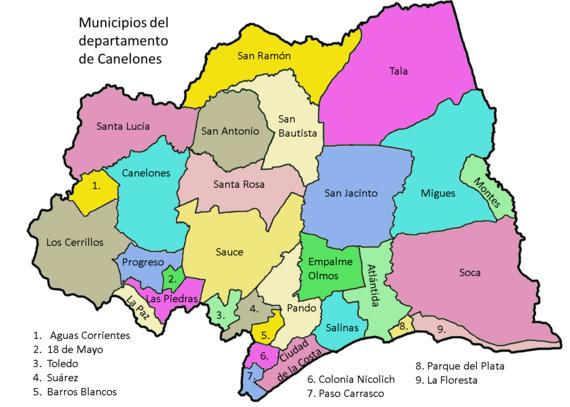 Mapa Canelones municipios