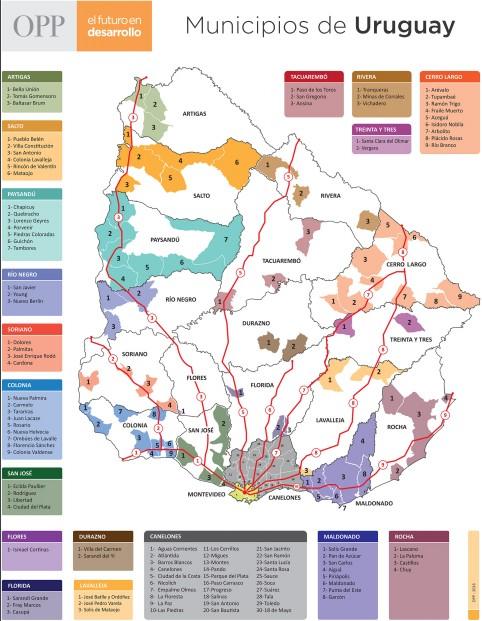 Mapa municipios Uruguay