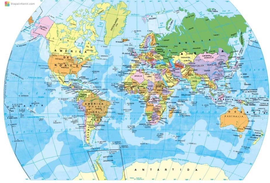 Planisferio proyección globo terráqueo