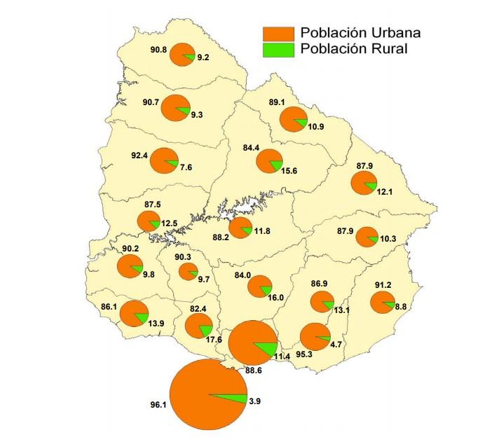 Mapa población urbana y rural Uruguay