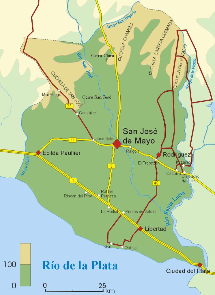 Mapa San José relieve y rutas