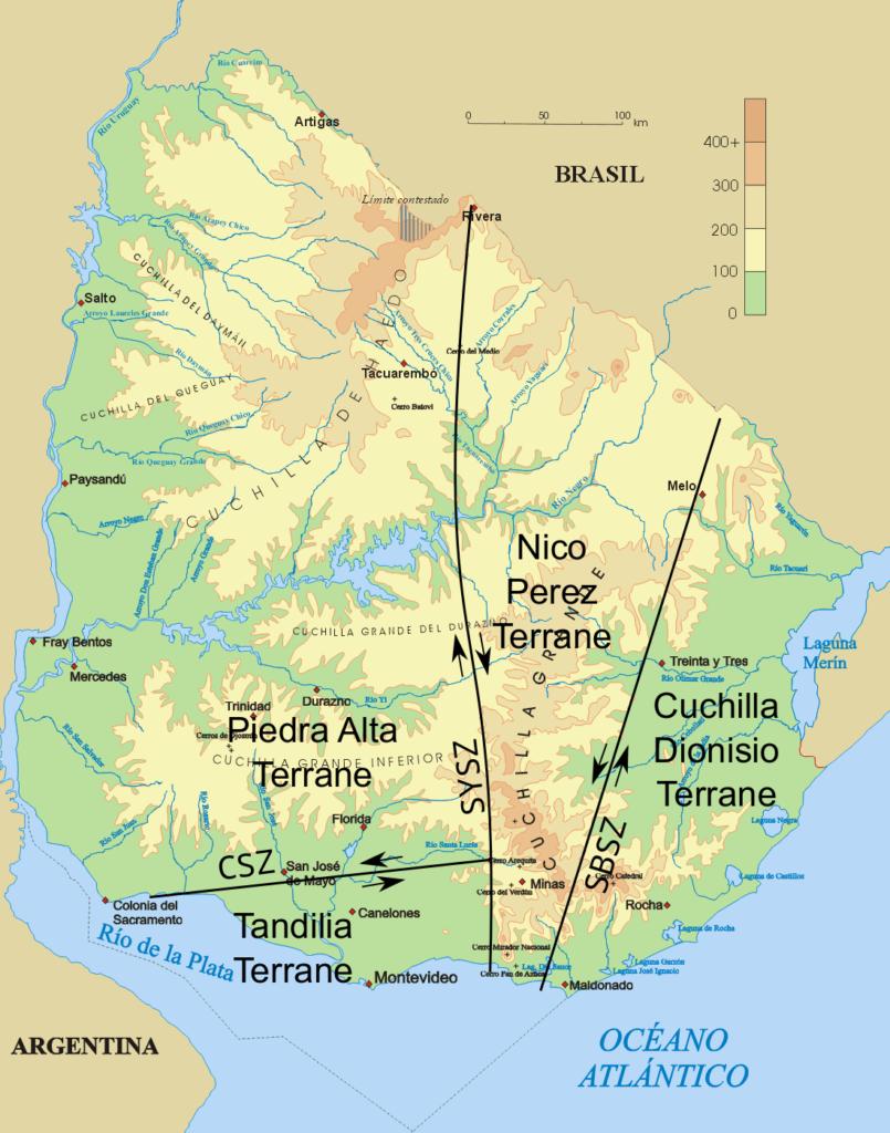 Mapa físico con terrenos geologicos de Uruguay