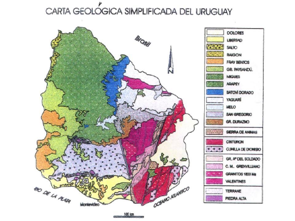 Mapa de Uruguay geológico