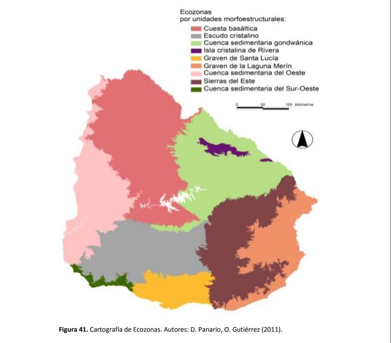 Mapa geomorfológico del país Uruguay
