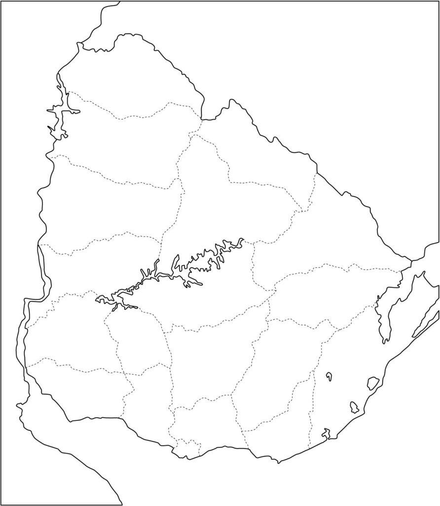 Mapa de Uruguay politico mudo