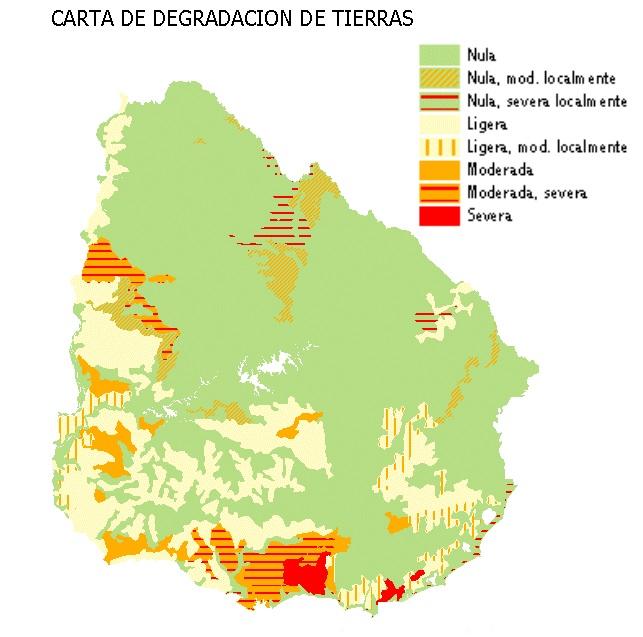 Mapa de erosión de suelos Uruguay