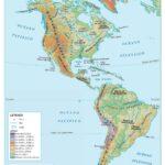Mapa América físico y relieve grande