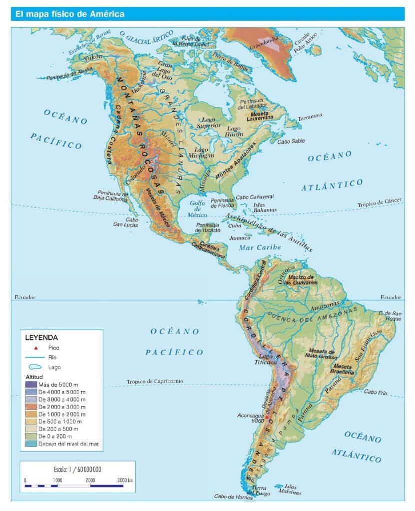Mapa america fisico