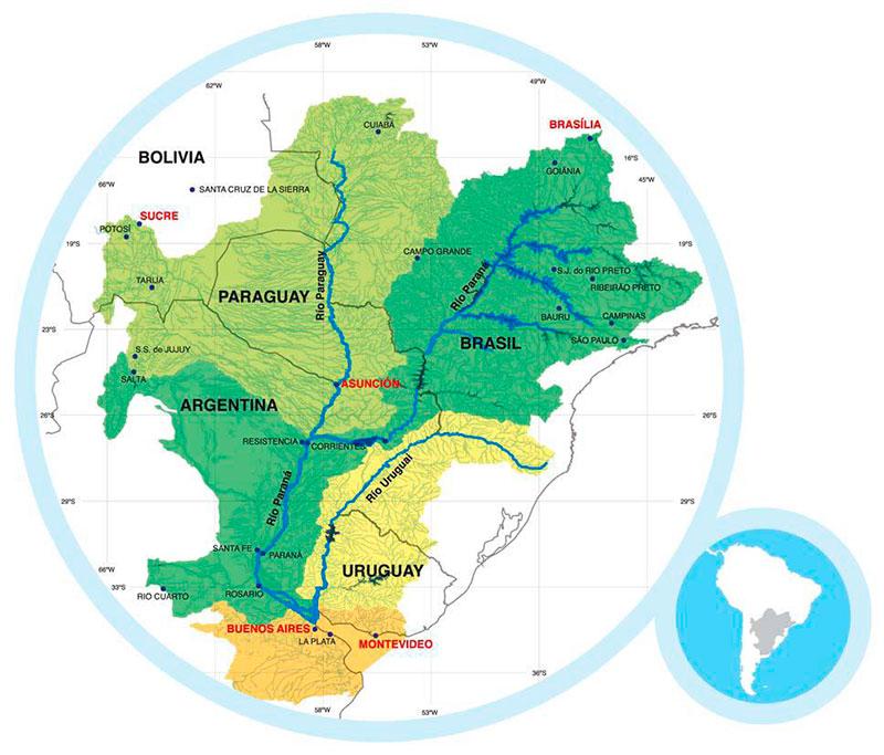 Mapa cuenca del Plata con cuencas interiores