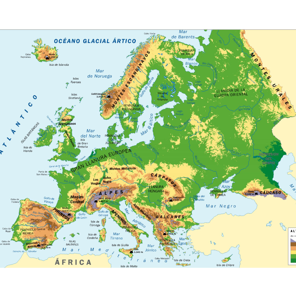 Mapa europa relieve