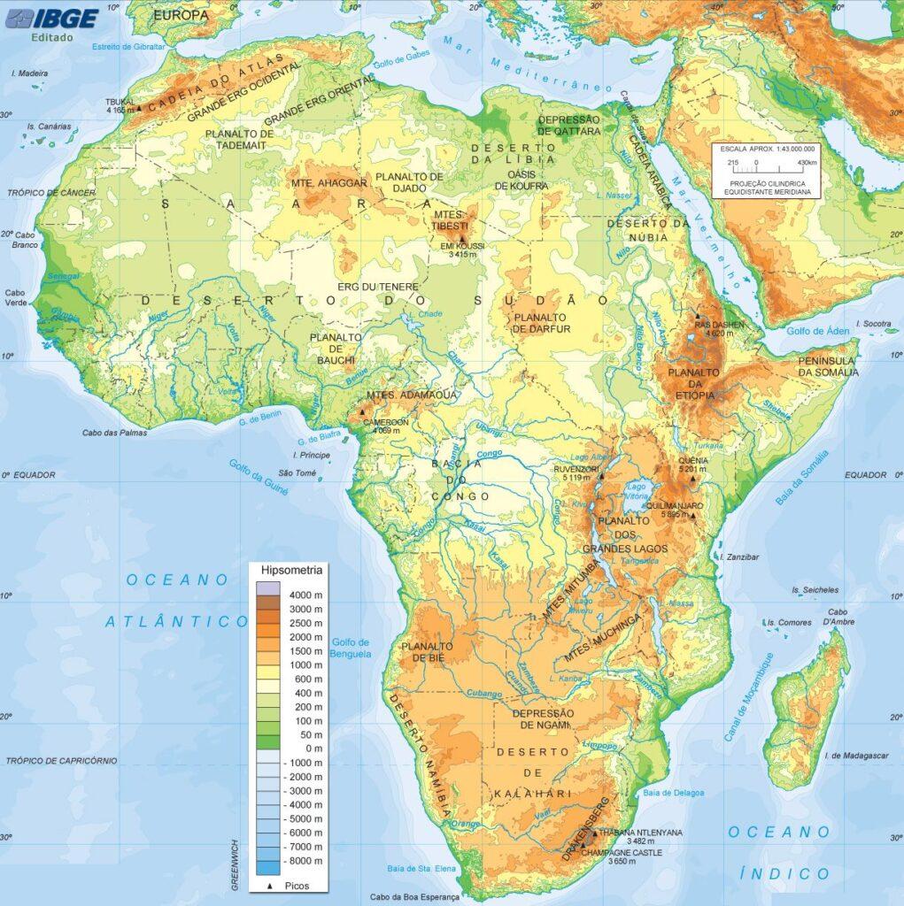 Mapa físico de Africa relieve