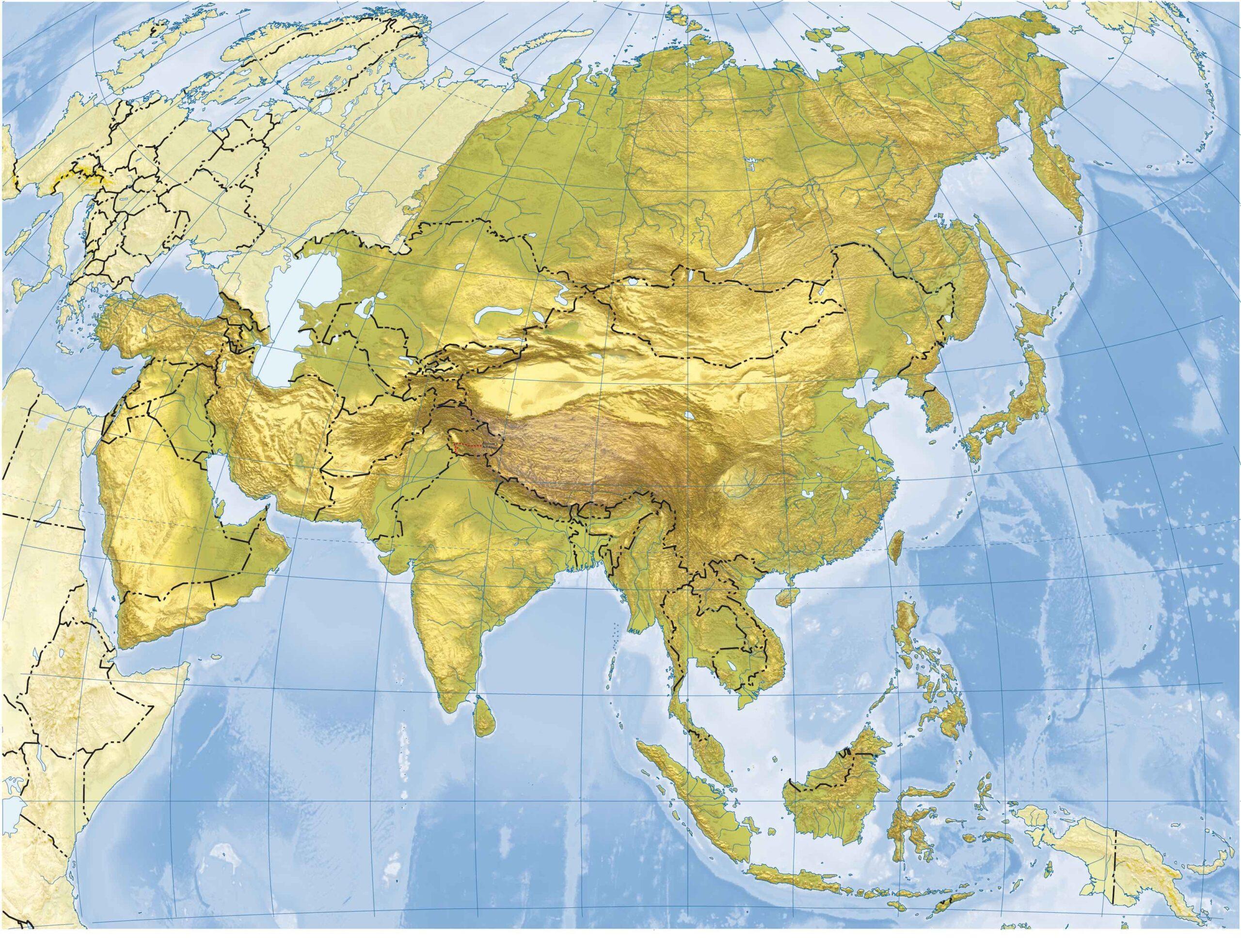 Mapa físico Asia mudo