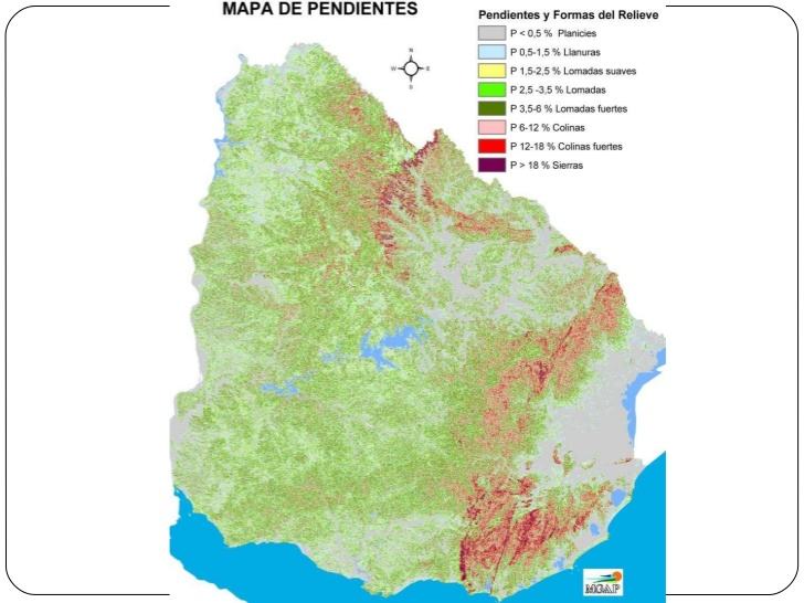 Mapa de pendientes del Uruguay físico