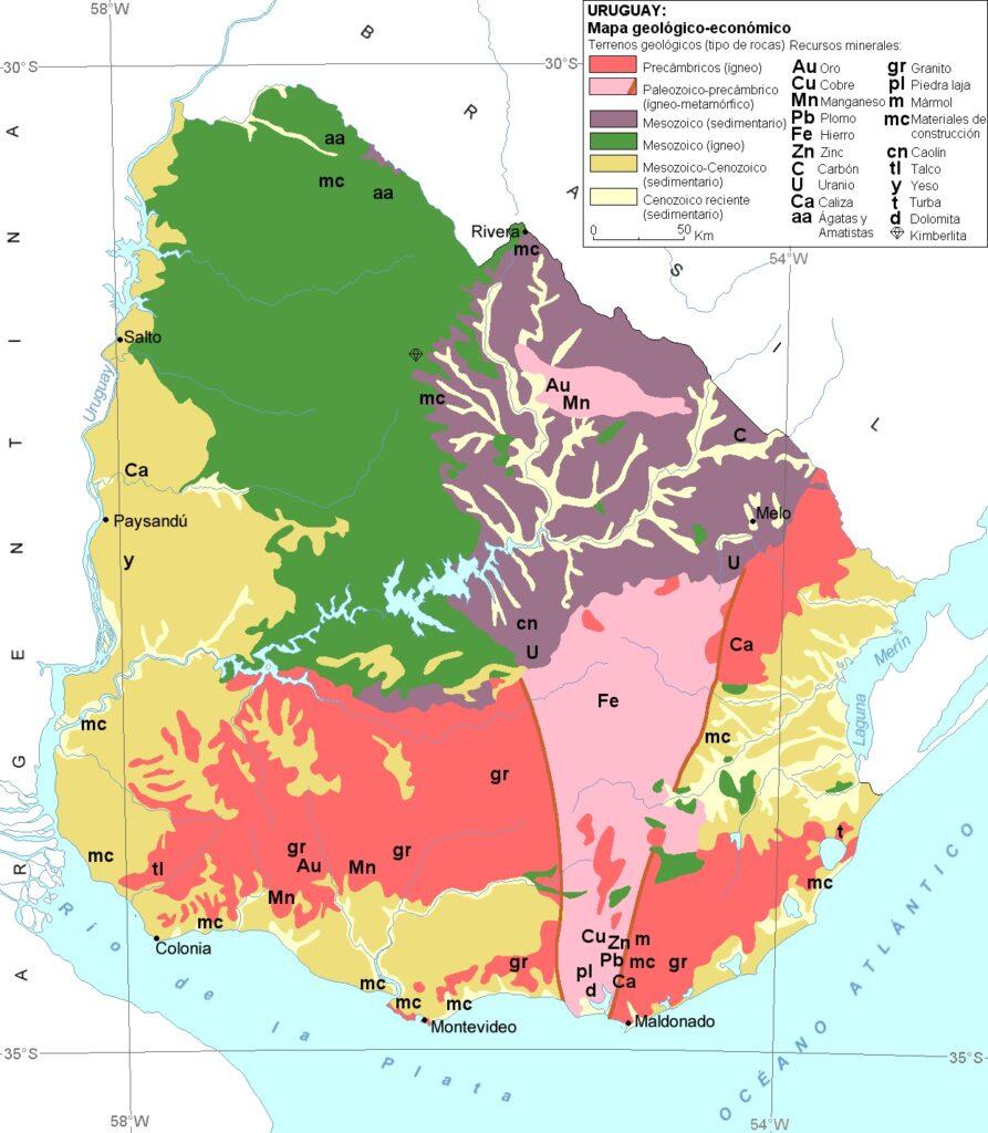 Mapa geológico de Uruguay