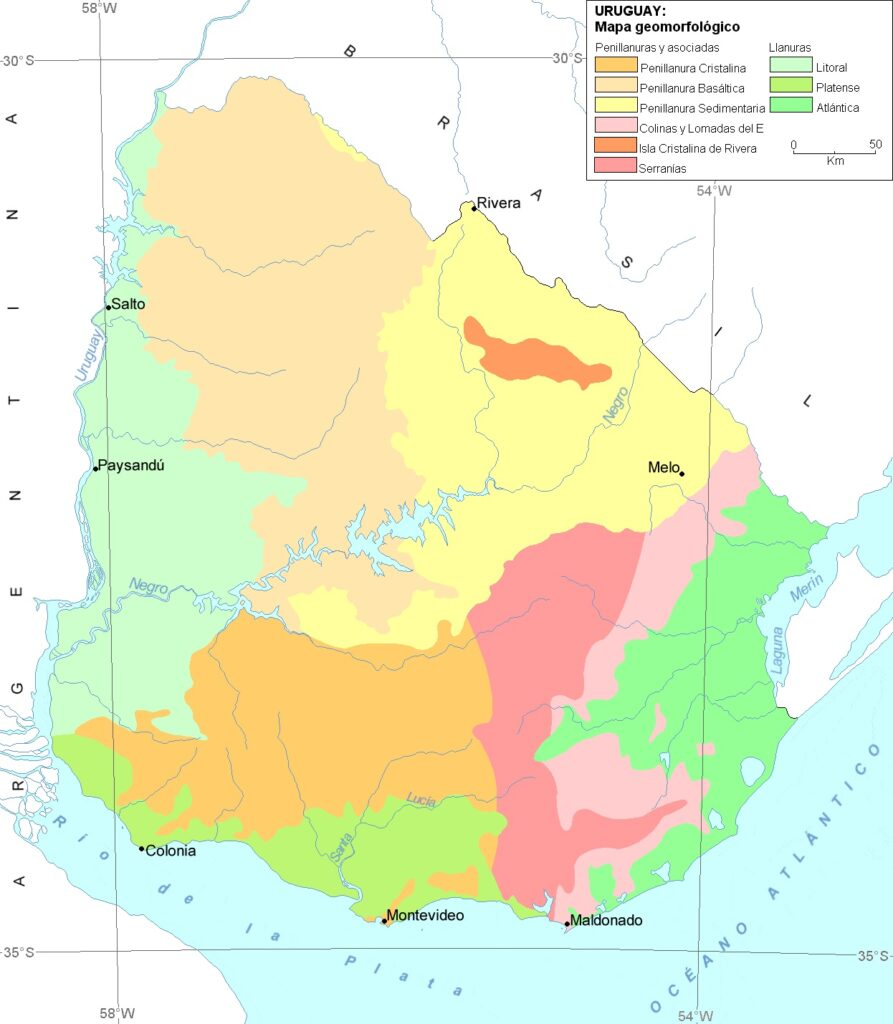 Mapa geomorfológico uruguay