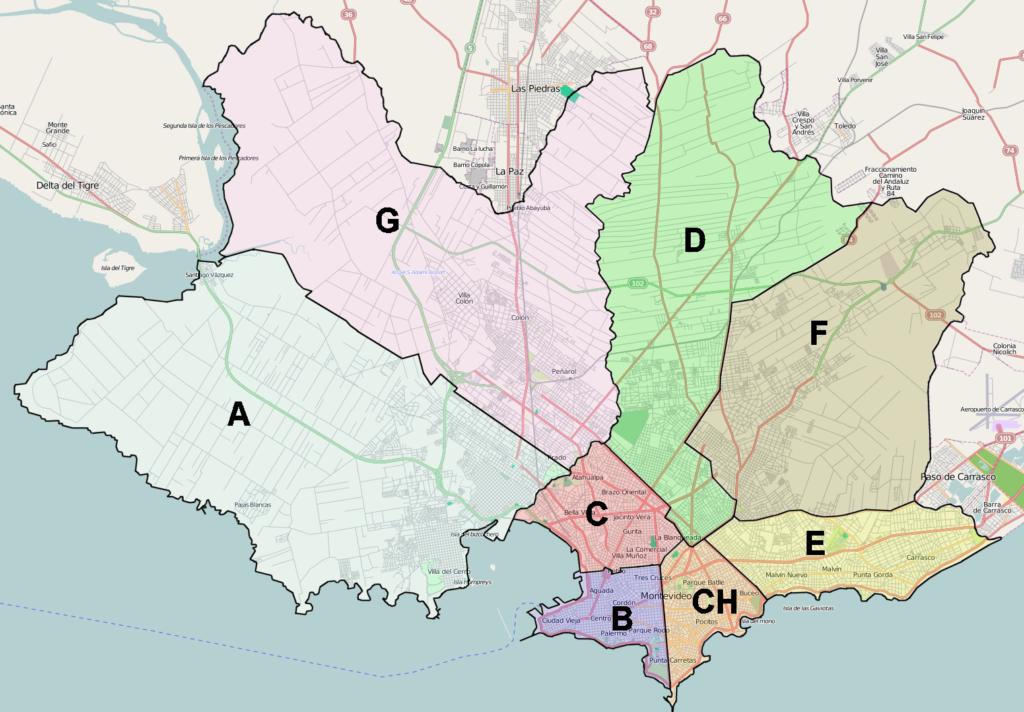 Mapa montevideo municipios