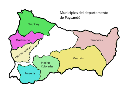 Mapa Paysandú municipios