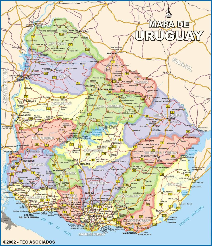 Mapa rutas uruguay