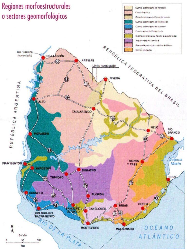 Mapa de sectorres geomorfológicos Uruugya