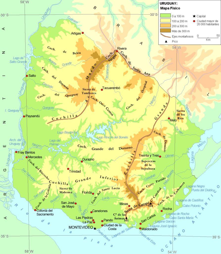 Mapa uruguay físico