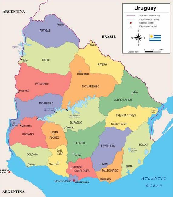 Mapa uruguay político colores