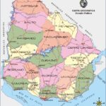 Mapa de Uruguay con departamentos y carretero en colores