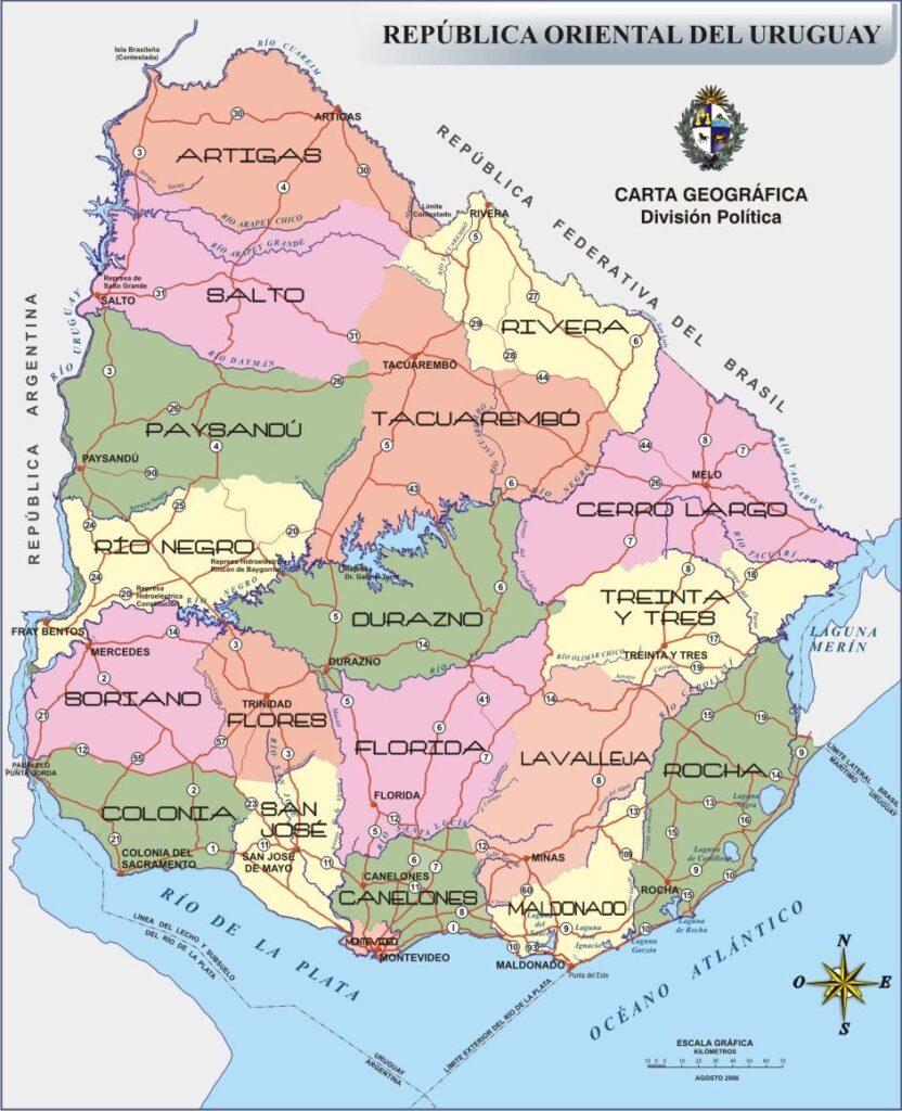 Mapa rutas Uruguay político