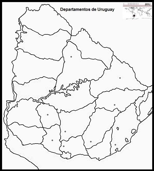Mapa político de Uruguay con capitales mudo