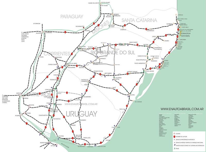 Mapa rutas internacionales Uruguay