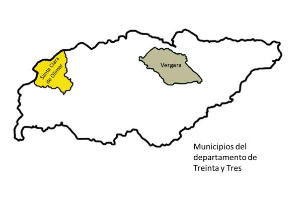 Mapa municipios Treinta y Tres