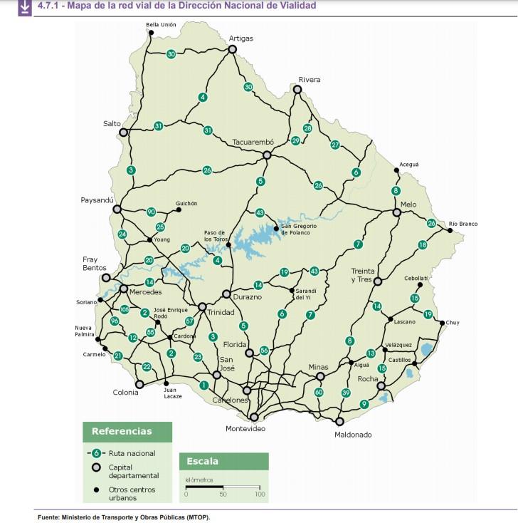Mapa de redes viales Uruguay