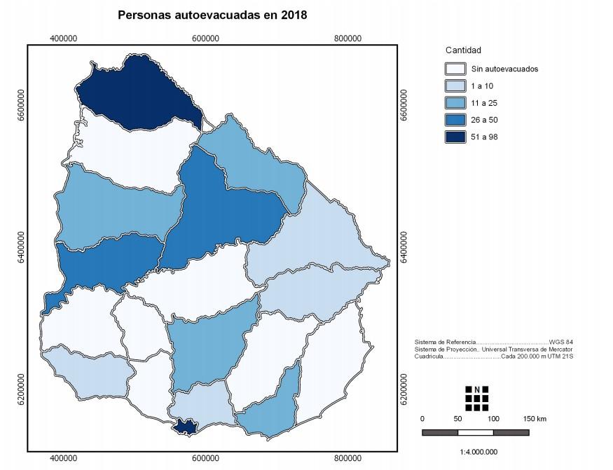 Mapa personas autoevacuadas Uruguay 2018